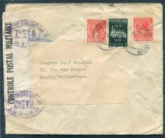 1939 Netherlands Amsterdam Censor Cover - Congres Juif Mondial, Geneva Switzerland. World Jewish Conference. Judaica - Period 1891-1948 (Wilhelmina)