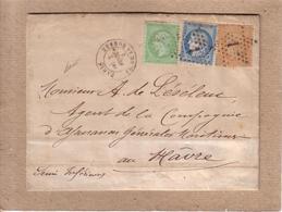 LETTRE DE PARIS AU HAVRE - ETOILE N° 1 CERES 10C 40C NAPOLEON 5C CAD PLACE DE LA BOURSE AMBULANT PARIS AU HAVRE D - 1873 - Marcophilie (Lettres)
