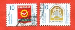 Kazakhstan 2007.Coats Of Arms Of Cities Karaganda And Pavlodar..Used Stamps. - Kazakhstan