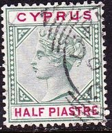 CYPRUS 1894-96 Queen Victoria Bi-coloured ½ Piastre Green /rose WM CA Die II Vl. 35 - Cyprus (...-1960)