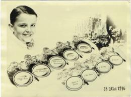 Foto/Photo Montage-Menu. Enfant Et Divers Plats. Communion. 1936. Amusant Menu. - Objects