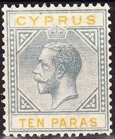 CYPRUS 1922-1923 King George V 10 Paras Grey / Yellow WM CA Caligraphic Vl. 79 MH - Chypre (République)