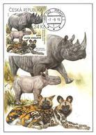 CM 896 Czech Republic Nature Protection: Zoological Gardens I - Rhino And African Wild Dog 2016 - Rhinozerosse