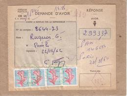 PARIS - CHEQUE POSTAUX , DEMANDE D'AVOIR , CACHET VERT SUR BANDE 4 SEMEUSES 0,20 + MARQUE EN LOSANGE 284 - 1962 - 1961-....