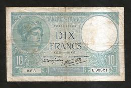 FRANCE - BANQUE De FRANCE - 10 Francs MINERVE (CN. 16 - 1 - 1941) - 1871-1952 Antichi Franchi Circolanti Nel XX Secolo