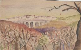 Matériaux Différents - Carte Peinte Aquarelle - Viaduc Village - Façon Tuck - 1917 - Ansichtskarten