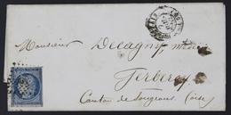 Lettre France 1849-50 Emission Cérès Non Dentelé 25c Bleu 4 07-07-1852. PC332 Beauvais - 1849-1876: Période Classique