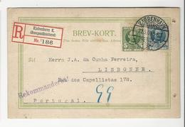 Postal Stationery * Denmark * 1909 * Kobenhavn * Registered * Holed - Lettres & Documents