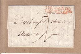 PAYS BAS , FRANCE - LETTRE DEPART AMSTERDAM POUR AUXERRE MARQUE HOLLANDE TROUPES FRANCAISES - SIGNEE POTHION - 1805 - Army Postmarks (before 1900)