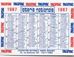 Calendrier LOTERIE NATIONALE TACOTAC 1987 (PPP14636) - Tamaño Pequeño : 1981-90