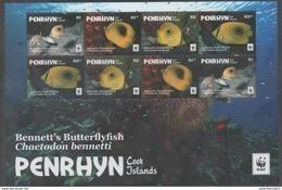 PENRHYN , 2017, MNH, WWF, FISH, SHEETLET OF 2 SETS, NO WHITE BORDER - W.W.F.