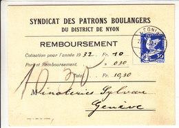 188 SUR LETTRE - LOGO PRIVE ,SYNDICAT DES PATRONS BOULANGERS DE NYON - CACHAT DE BEGNINS - Svizzera