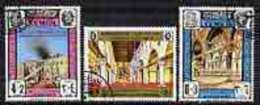 51539 Yemen - Royalist 1968 Al-Aqsa Mosque Perf Set Of 3 Fine Cto Used (mosques Fire Islam) - Yémen