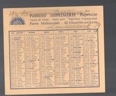 Chazelles Sur Lyon (42 Loire) Calendrier  1972 Imprimerie PIERRE MALMENAIDE  (PPP14641) - Calendars
