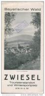 Zwiesel 30er Jahre - Faltblatt Mit 8 Abbildungen - Beiliegend Unterkunfts- Und Tourenverzeichnis - Reiseprospekte