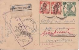 India  1942   KG VI  Registered  Post Card   #  13084  D Inde Indien - India (...-1947)