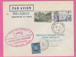 Pli: Ouverture De La Ligne Aérienne Alger-Gao-Bamako - Régie Air Afrique - 22/02/1938 - YT N°357 Et N°358 - First Flight Covers