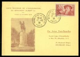 France 1938 Carte Souvenir De L'Inauguration De Monument Albert 1er Par Avion Paris Bruxelles - France