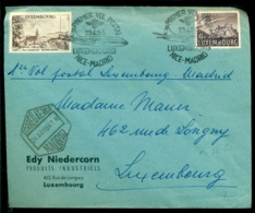 Luxemburg 1956 Envelope Premier Vol Luxembourg-Madrid Avec Mi 408 Et 536 - Lettres & Documents