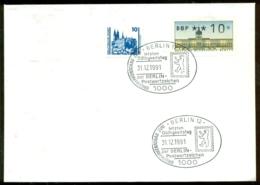 Deutschland 1991 Kombinationsbeleg Deutsche Post/Berlin Mit Berlin Letztgültigkeitsstempel - Storia Postale