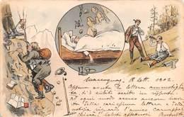 """0290 """"LA SCALATA ED IL SOGNO..... - UMORISTICA"""" ANIMATA  CART  SPED 1902 - Humour"""