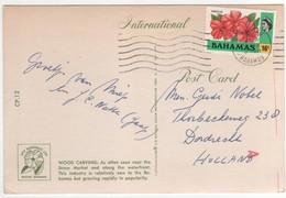 "Stamp , Timbre "" Hibiscus "" Sur Carte , Postcard De 1977 - Bahamas (1973-...)"