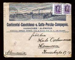 "1924 - Dekorativer Firmenbrief ""Continental Caoutchouc"" Ab Las Palmas Nach Hannover - 1889-1931 Royaume: Alphonse XIII"