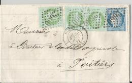 Lac Cad   NIORT 30 Juin 1873  Pour POITIERS  TTB - Postmark Collection (Covers)