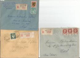 3 Env  REC  Deux Sevres  CHEF BOUTONNE  PERIGNE   BRIOUX  Pour NIORT   1943  Et 1945 TB - 1921-1960: Modern Period