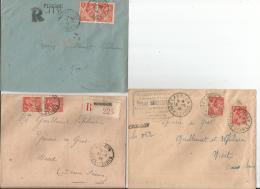 3 Env  REC  Deux Sevres  MOUGON  EXOUDUN  PERIGNE En 1945 2 Rec Provisoires TB - Postmark Collection (Covers)