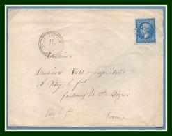 GC 4477 / N° 22 Type 22 Les Grandes Côtes (49) 1865  > Vitry Le François T15 2D + 15E (cote XX) - Marcophilie (Lettres)