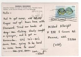 """Stamp , Timbre """" Poissons   """" Sur Carte , Postcard De 1989 - Bahamas (1973-...)"""