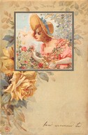 """0304 """"FIGURA FEMMINILE - FIORI - GIUGNO - JUNIUS - LIBERTY"""" ANIMATA.  CART  SPED 1900 - Cartes Postales"""