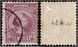 Netherlands. 1891 -1893 Queen Wilhelmina. 25c. Cancelled - Period 1891-1948 (Wilhelmina)