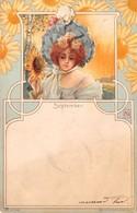 "0305 ""FIGURA FEMMINILE - FIORI - SETTEMBRE - SEPTEMBER - LIBERTY"" ANIMATA.  CART  SPED 1900 - Cartes Postales"