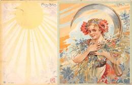"""0306 """"FIGURA FEMMINILE - FIORI - AGOSTO - AUGUSTUS - LIBERTY"""" ANIMATA.  CART  SPED 1900 - Cartes Postales"""