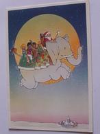 Pere Noel   Enfants Du Monde Sur Un Elephant Volant Dans Le Ciel Carte Pliante Edit Unicef - Christmas