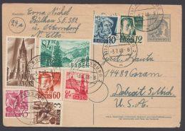 """Mi-Nr. P962, Karte Mit Bedarfstext In Die USA, Dek. Zusatzfr. Frz. Zone-Baden, """"Augsburg"""",  3.7.48, O - Gemeinschaftsausgaben"""