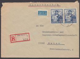 """Mi-Nr. 105, MeF Mit 2 Werten Auf R-Brief """"Essen"""", 18.5.49, Mit Ankunft - Bizone"""