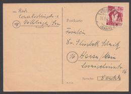 "Mi-Nr. 214, Saubere EF ""Völklingen"", 26.9.47, Bedarfskarte - 1947-56 Allierte Besetzung"