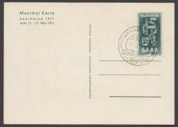 """Mi-Nr. 306, """"Saarmesse"""" 1951, Motivgleiche Karte, Pass. ESst. - 1947-56 Allierte Besetzung"""