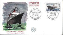 """ENVELOPPE PREMIER JOUR D'ÉMISSION LE PAQUEBOT """" FRANCE """" LLE HAVRE 11/01/1962 - Marcophilie (Lettres)"""