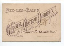 AIX LES BAINS GRAND HOTEL CHATEAU DURIEUX Jean RIVOLLIER Dos Redfern NICE CANNES PARIS - Publicités