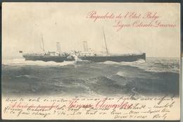 E.P. Carte Paquebots De L'Etat Belge Ligne Ostende-Douvres 'A Bord Du Paquebot Princesse Clémentine' (mention Biffée) Ob - Stamped Stationery