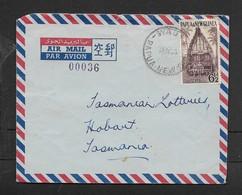 Papua-New Guinea, Air Mail,  6 1/2d, WAU -PAPUA NEW GUINEA 19 JY 56 > Hobart, Tasmania - Papoea-Nieuw-Guinea