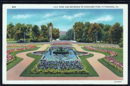CPA - PITTSBURGH - Lily Pond And Entrance To Highland Park (Lot 404) - Pittsburgh