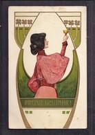 Superbe CPA Illustrateur Femme Frise Végétale Art Nouveau Prosit Neujahr - Style Mucha Kirchner - Before 1900