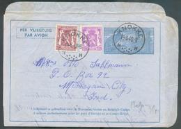 Aérogramme 3Fr.15 + Tp Sceau De L'état De 20 Et 65c. (tp N°422-711) Obl. Sc KNOKKE 19-8-1949 Vers Michigan City (USA). - Stamped Stationery