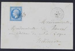 Envelop France 1862 Emission Empire Dentelé Napoléon III 20c Bleu 22 10-09-1865. GC 3845 St-Sauveur-Lendelin - 1849-1876: Période Classique