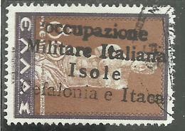 OCCUPAZIONI ITALIANE ITACA 1941 CEFALONIA MITOLOGICA LEPTA 80L USATO USED OBLITERE' - 9. Occupazione 2a Guerra (Italia)